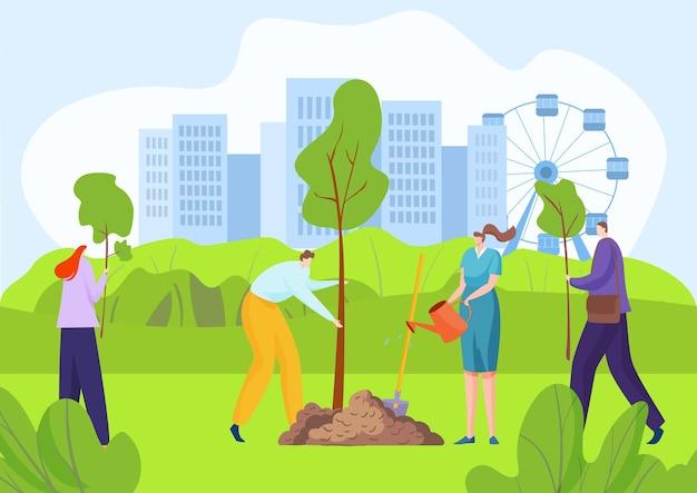 Plantas ativistas de ecologia crescendo em parque urbano ao ar livre