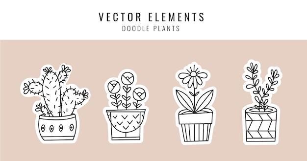 Plantas da casa em vasos em estilo doodle.