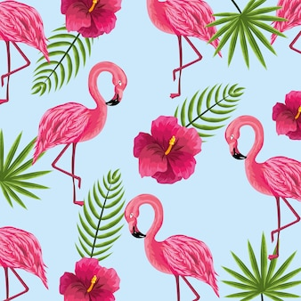 Plantas de beleza e flores fofos com fundo de flamingo