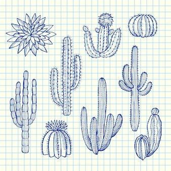 Plantas de cactos selvagens desenhadas à mão em conjunto na ilustração de folha de célula azul