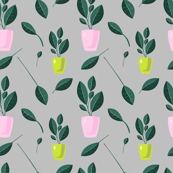 Plantas de casa abstratas padrão sem emenda vector textura infinita em fundo cinza padrão colorido Vetor Premium
