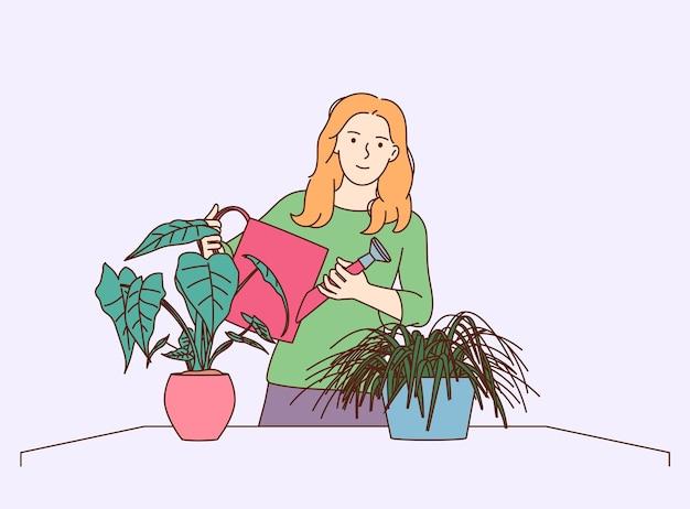 Plantas de casa e jardinagem doméstica. plantas de casa molhando da jovem mulher. cultivar e cuidar de flores ou ervas em vasos.