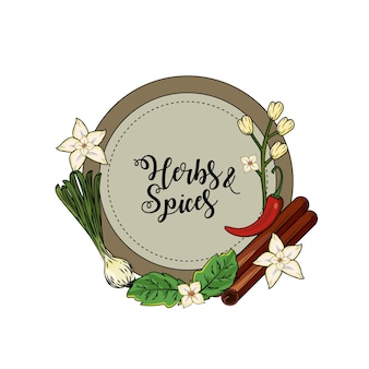 Plantas de ervas e especiarias emblema e comida de órgão
