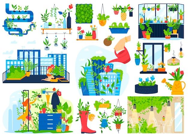 Plantas de flores crescem na varanda da casa, jardim conjunto de ilustração vetorial