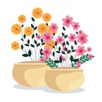 Plantas de flores exóticas com galhos folhas dentro do vaso