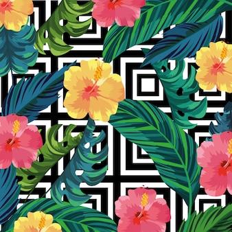 Plantas de flores tropicais e folhas de fundo