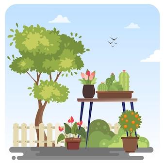 Plantas de flores vaso vaso de jardim ilustração cenário fundo de céu azul