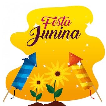 Plantas de girassóis com fogos de artifício para festa junina