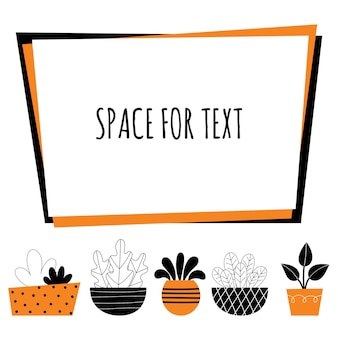 Plantas de interior de vetor. decoração da casa, jardinagem, flores em vasos. decoração do quarto. ilustração de design estilizado em um fundo branco. espaço para texto.