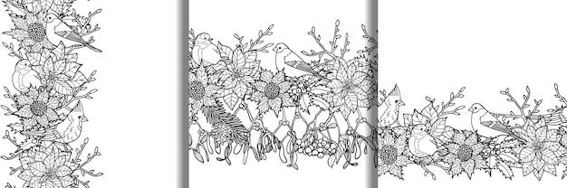 Plantas de inverno com pássaros bordas sem costura definir papéis de parede de natureza para cartões comemorativos estampas têxteis