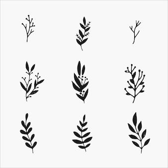 Plantas de inverno e conjunto de elementos botânicos. lindas ilustrações desenhadas à mão, simples preto e branco isolado