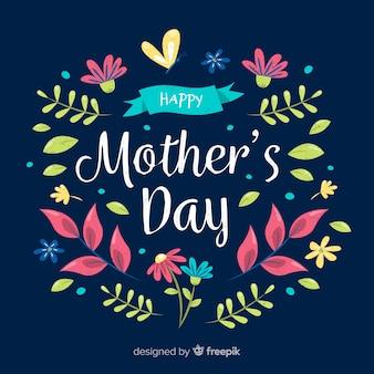 Plantas de mão desenhada fundo do dia das mães
