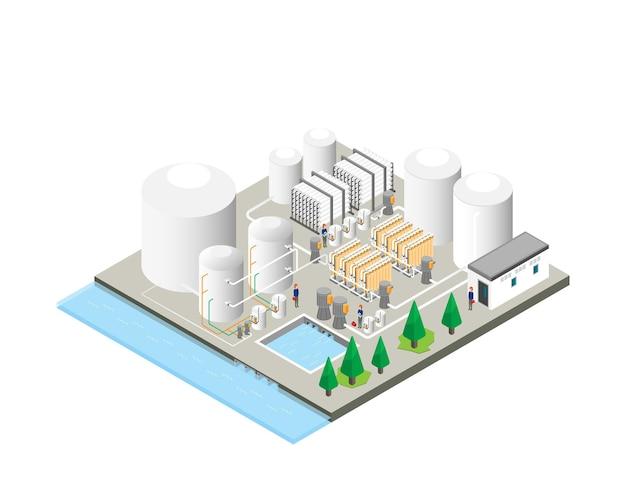 Plantas de purificação de água potável, plantas de osmose reversa em gráfico isométrico