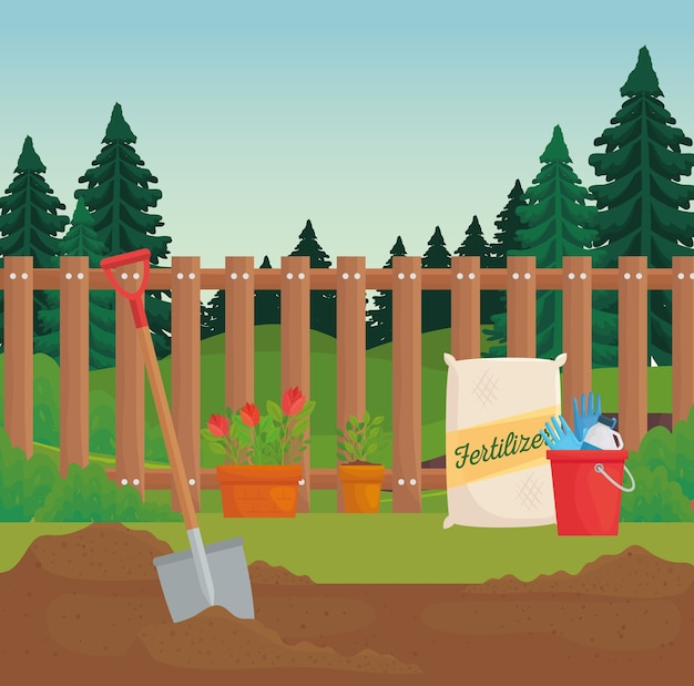 Plantas de saco de fertilizante de jardinagem e design de pá, plantio de jardim e natureza