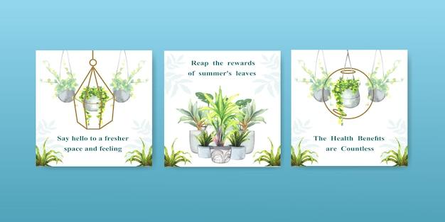 Plantas de verão e plantas da casa anunciam modelo de design para ilustração em aquarela folheto, brocure e livreto