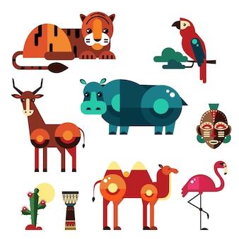 Plantas e animais de áfrica plana geométrica