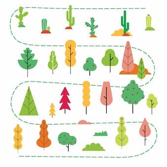Plantas e árvores estilo plano conjunto mínimo abstrato versão de design simples de plantas na floresta