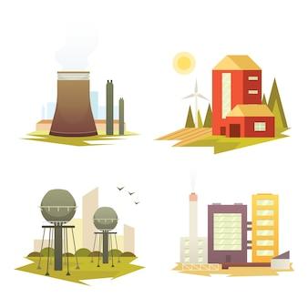 Plantas e edifícios de fábricas industriais diferentes. ilustrações de conjunto de construção de cidade industrial.