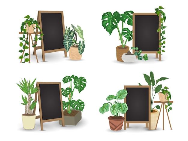 Plantas em vasos com quadro negro para escrever mensagens.
