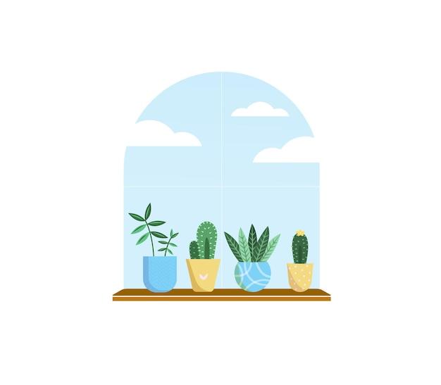 Plantas em vasos conjunto de quatro flores verdes no parapeito de uma janela