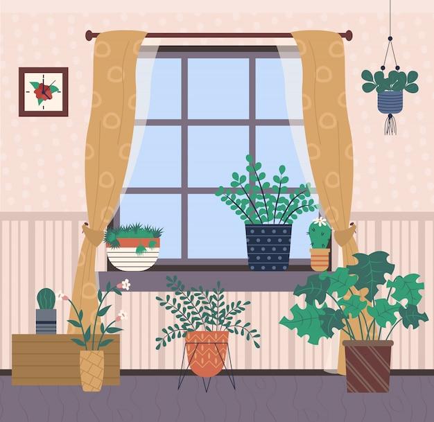 Plantas interiores do quarto que crescem na decoração home dos potenciômetros