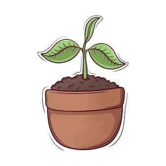 Plantas recém-nascidas desenhadas à mão fofa