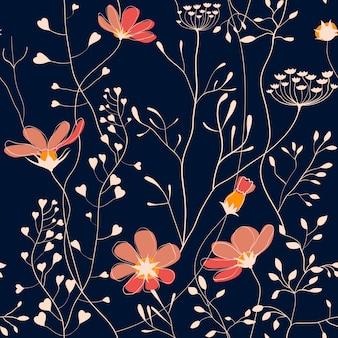 Plantas selvagens e flor sem costura padrão