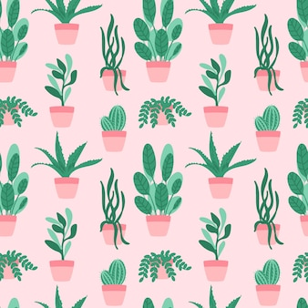 Plantas sem costura padrão e suculentas em vasos
