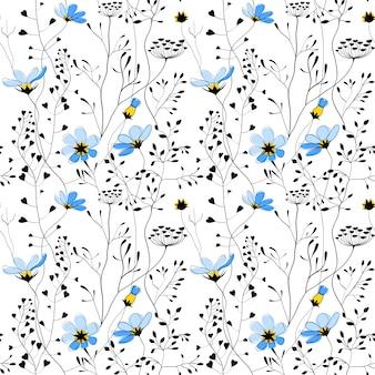 Plantas silvestres e flor azul sem costura padrão
