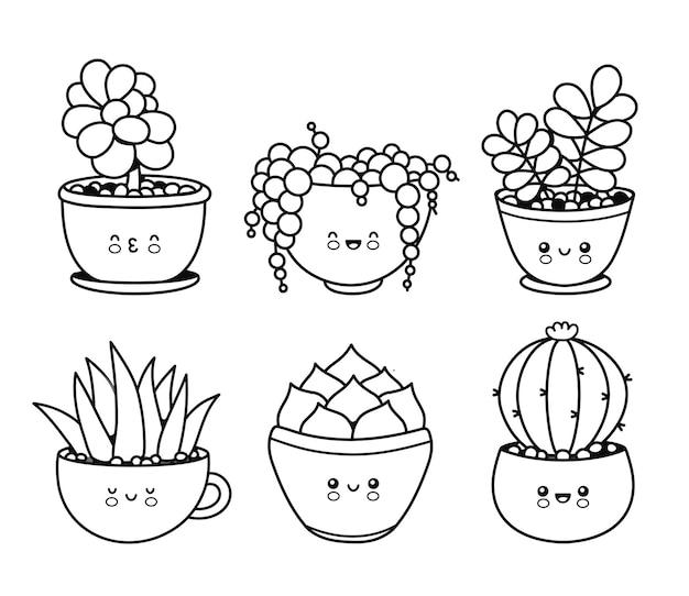 Plantas suculentas engraçadas e felizes fofas, cactos, coleção de conjunto de emoji de flor. ilustração de personagem kawaii dos desenhos animados para colorir em vetor. página de plantas para o conceito de pacote de livro para colorir.