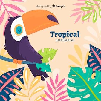 Plantas tropicais de mão desenhada e fundo do pássaro