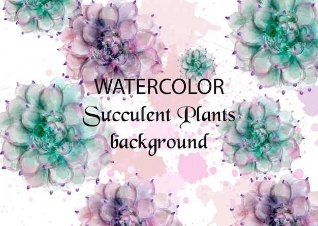 Plantas tropicais em aquarela suculentas