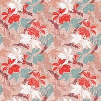 Plantas tropicais modernas sem costura da moda com folhas exóticas se misturam com texturas de pontos desenhados à mão.