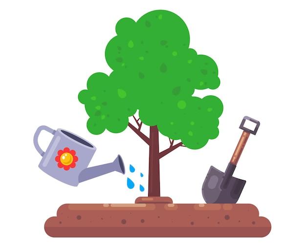 Plante uma árvore na natureza, pá e regador para as plantas aquáticas do jardim vetor plano