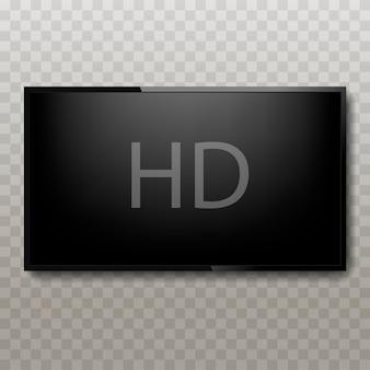 Plasma de tv realista com texto hd na tela.