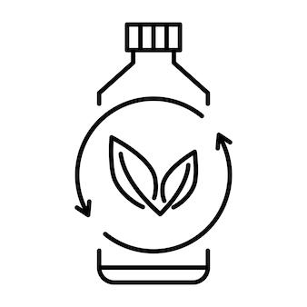 Plástico biodegradável, sinal. ícone de garrafa de plástico com folhas verdes. volta-se para o conceito de planta. produção de material compostável ecologicamente correto. resíduos zero, conceito de proteção da natureza. vetor