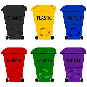 Plástico do caixote do lixo. dumpsters. recipientes para reciclagem. diferentes tipos de lixo no estilo de glifo: orgânico, plástico, metal, papel, vidro, lixo eletrônico. lixeiras coloridas isoladas no fundo branco