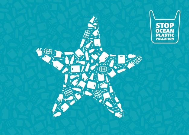 Plástico lixo planeta poluição conceito ilustração vetorial estrela do mar silhueta animal marinho preenchido