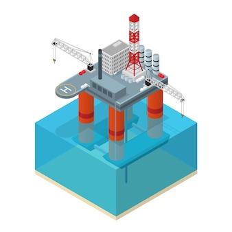 Plataforma da indústria petrolífera, vista isométrica, estação de equipamentos industriais offshore do oceano.