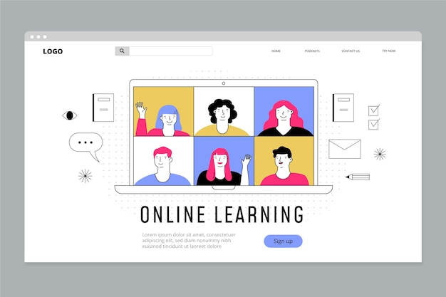 Plataforma de aprendizagem online plana linear