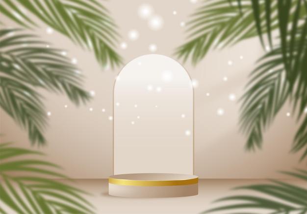 Plataforma de apresentação do produto e folhas de palmeira