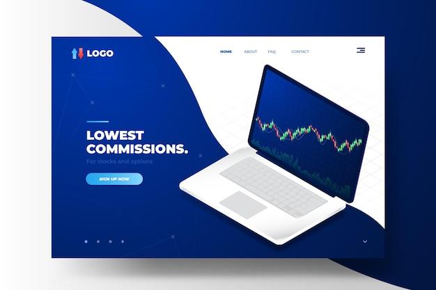 Plataforma de bolsa de valores - página de destino