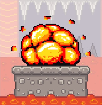 Plataforma de concreto da cena do jogo pixel art com explosão, masmorra com um rio de fogo