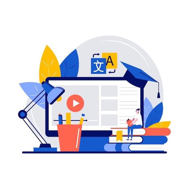 Plataforma de educação online, workshop e conceito de tutoria de línguas com personagem.