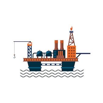 Plataforma de fábrica de óleo na água.