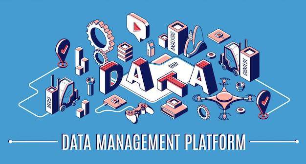 Plataforma de gerenciamento de dados, banner de infográfico isométrico dmp, estatísticas de finanças de análise de negócios