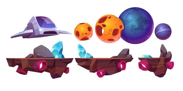 Plataforma de jogo espacial, nave espacial de elementos isolados de arcade de desenhos animados, rochas voadoras e planetas alienígenas para computador ou design de interface móvel 2d. aventura do cosmos, conjunto de ilustração futurista do universo