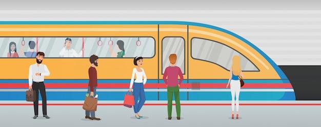 Plataforma de metrô com trem e pessoas na estação de metro. conceito de metro urbano com passageiros.