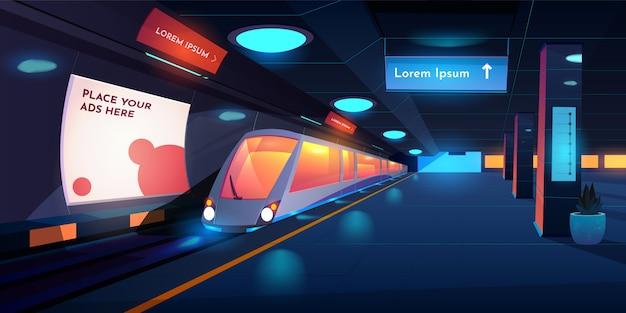Plataforma de metrô vazia com lâmpadas brilhantes, banners de mapa e anúncios