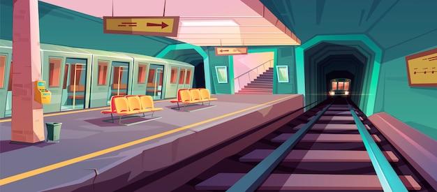 Plataforma de metrô vazia com trens que chegam